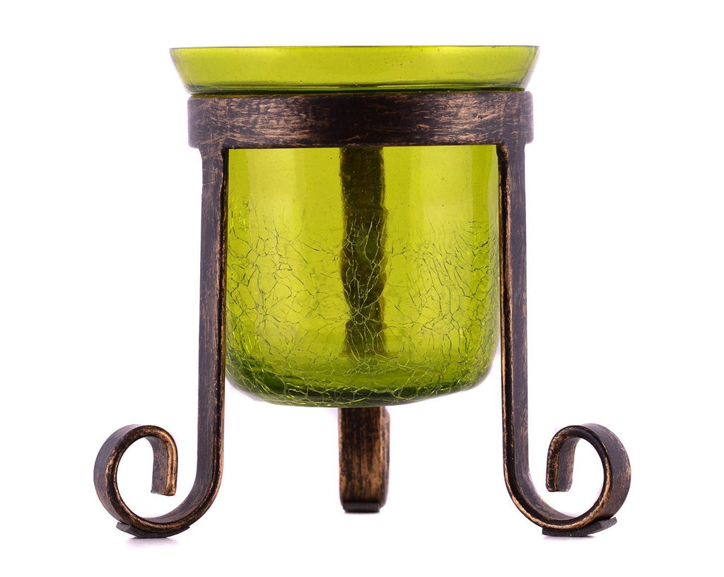 Crackle Glass Votive Tea Light Candle Holder Tripod-Green