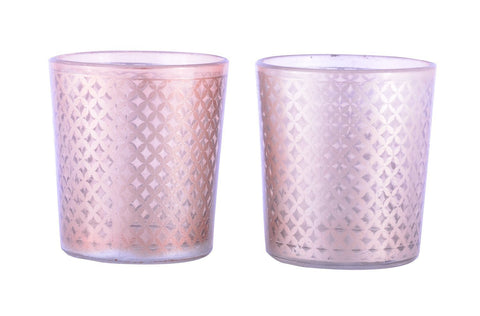 Tealight Votive Glass Candle Holders Lattice Finish-Brown Set of 2