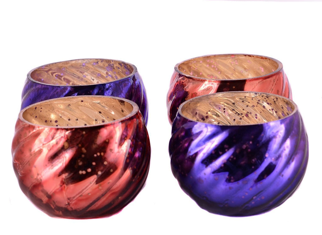 Antique Finish Tea Light Votive Candle Holders Purple-Orange Set of 4