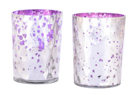 Mercury Finish Tea Light Votive Candle Holders-Purple Set of 2