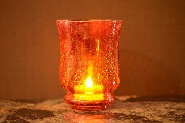 Crackle Glass Votive Tea light Candle Holders-Red