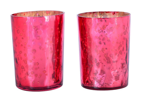 Mercury Finish Tea Light Votive Candle Holders-Red Set of 2