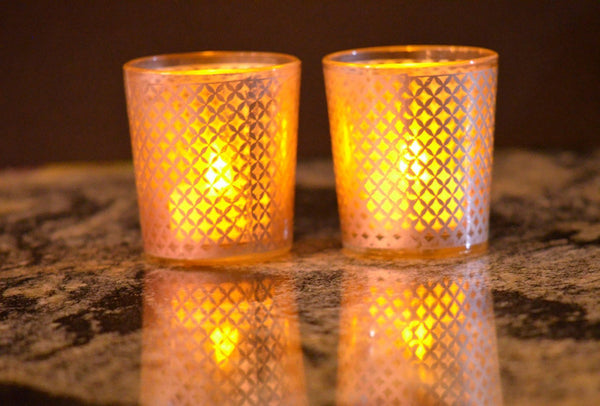 Tealight Votive Glass Candle Holders Lattice Finish-Brown Set of 4