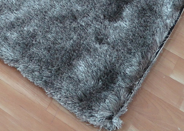 5x8 ft Silver-Grey Black Shaggy Polyester Area Rug