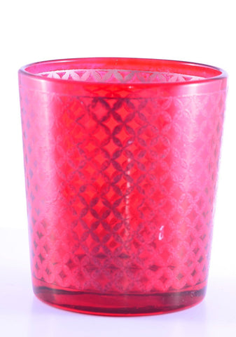 Tealight Votive Glass Candle Holders Lattice Finish-Red Set of 2