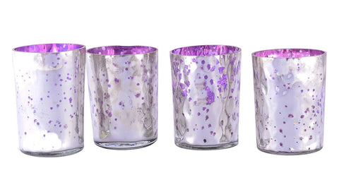 Mercury Finish Tea Light Votive Candle Holders-Purple Set of 4