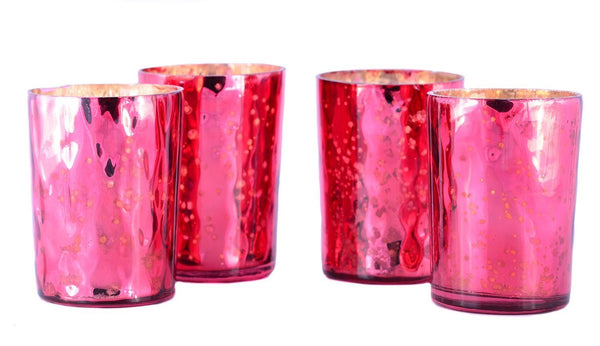 Mercury Finish Tea Light Votive Candle Holders-Red Set of 4