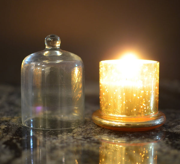 Scented Wax Filled Candle Holders Glass Votive-Gold