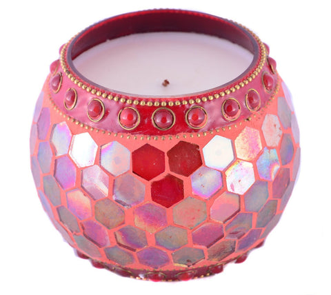 Scented Wax Filled Candle Holders Mosaic Votive