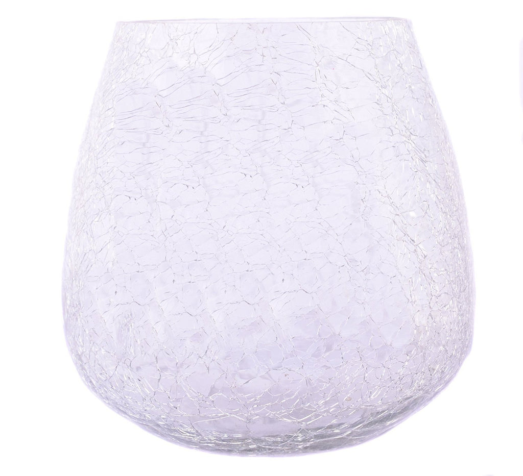Crackle Glass Votive Tea light Candle Holder-White