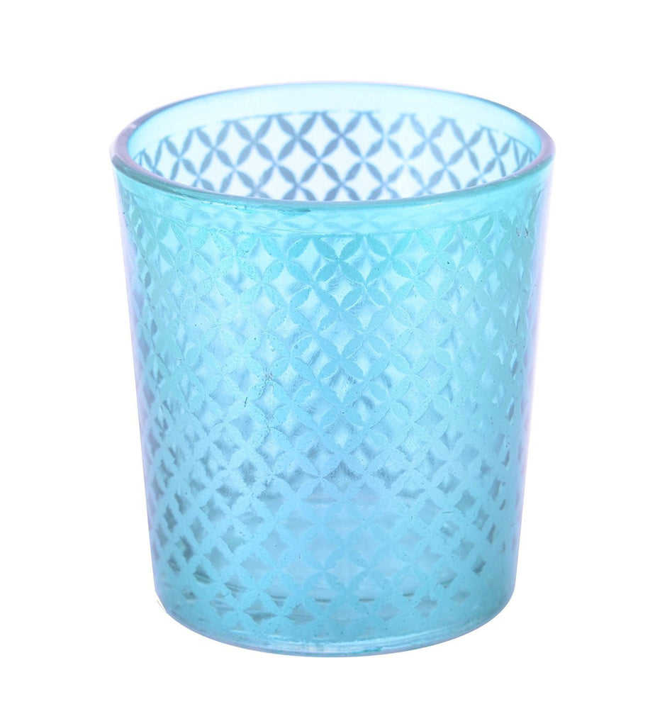 Tealight Votive Glass Candle Holders Lattice Finish-Blue Set of 4