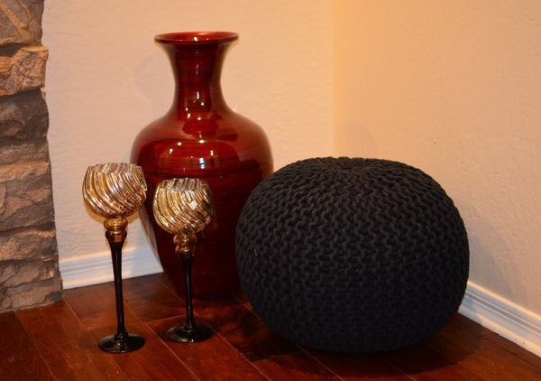 Pouf & Ottoman Round Cotton Braided Footstool Black Size 16''x 20""