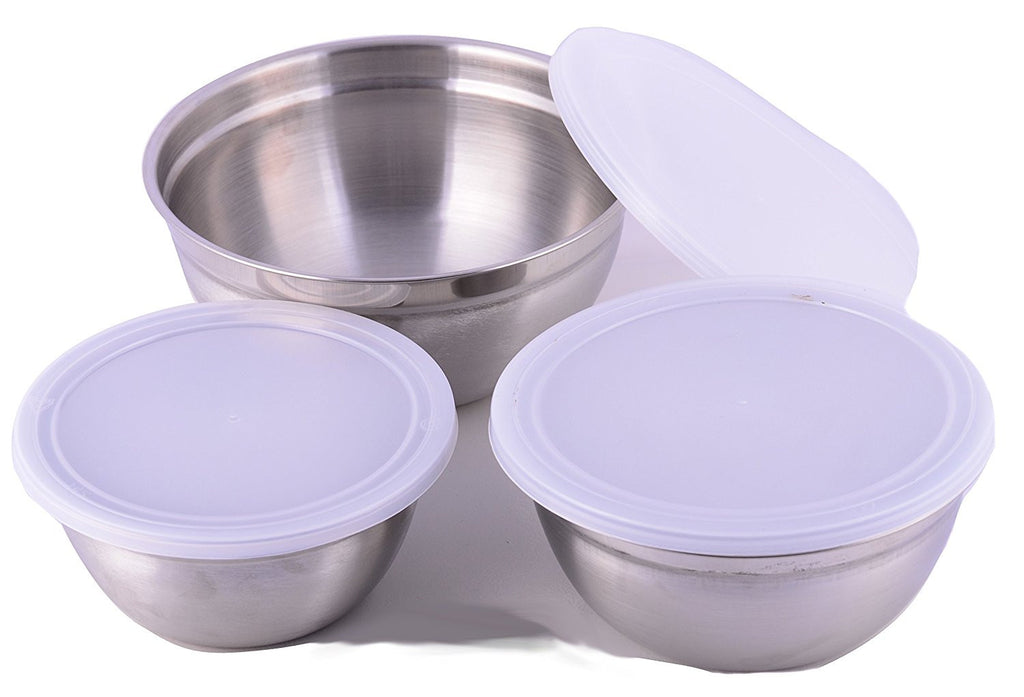 Cuissentials Stainless Steel Mixing Bowls with Plastic Lids - Set of 3