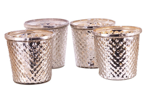 Antique Finish Tea Light Votive Candle Holders-Silver Set of 4