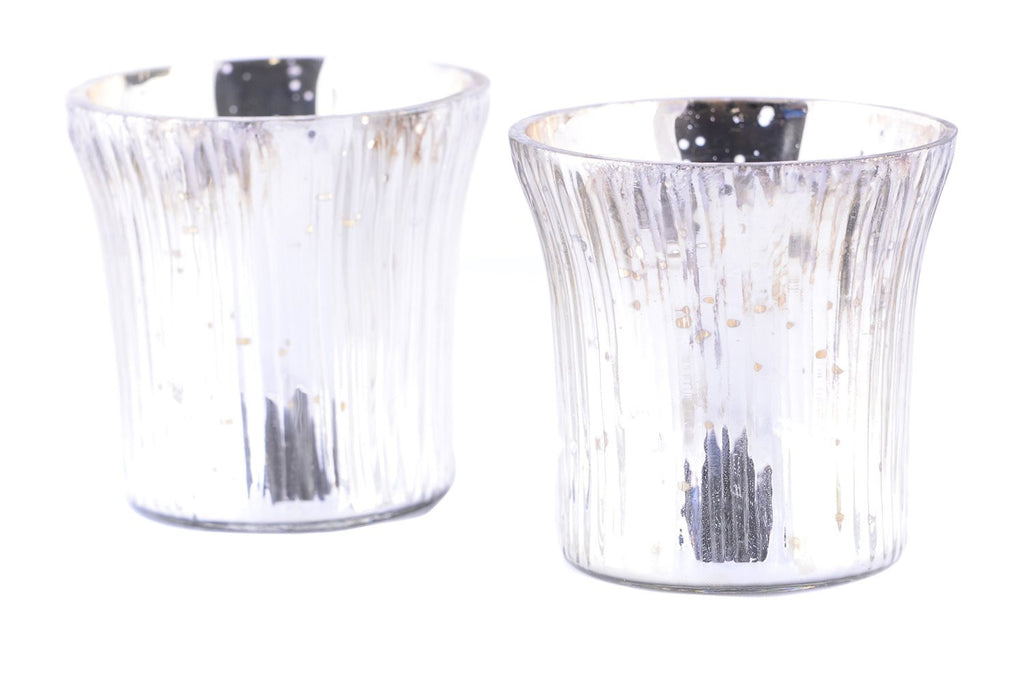 Antique Finish Tea Light Votive Candle Holders-Silver Set of 2