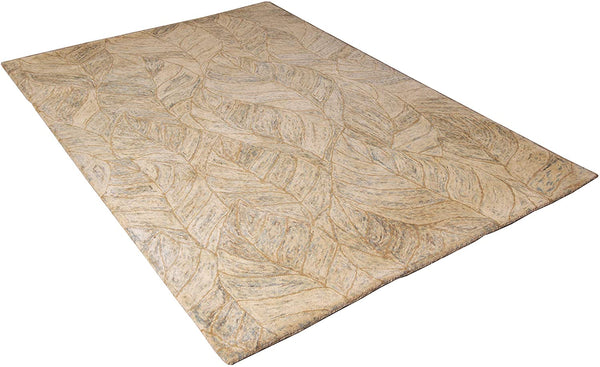 5x8 ft Beige-Green Woolen Area Rug