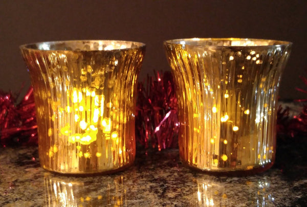 Antique Finish Tea Light Votive Candle Holders-Gold Set of 2