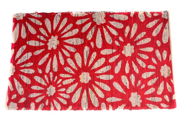 Multi Purpose Mats Handmade Recycled Paper Mat-Red Size 2 ft x 4 ft