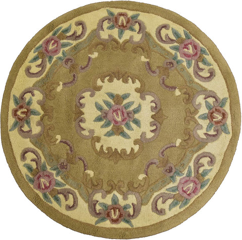 Beige Round Wool Area Rug  - 4 feet