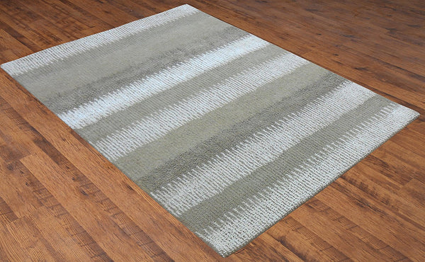 Hand Tufted Olive Green White Wool 5x8 ft Area Rug Contemporary Carpet