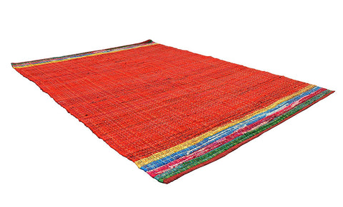 Red Area Rug 5x7 ft Area Rugs 100% Cotton Chindi Rag Carpet (60''x 80'')