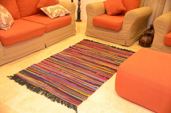 Area Rugs Handwoven Cotton Multi Color 4 ft x 5 ft Living Room Carpet