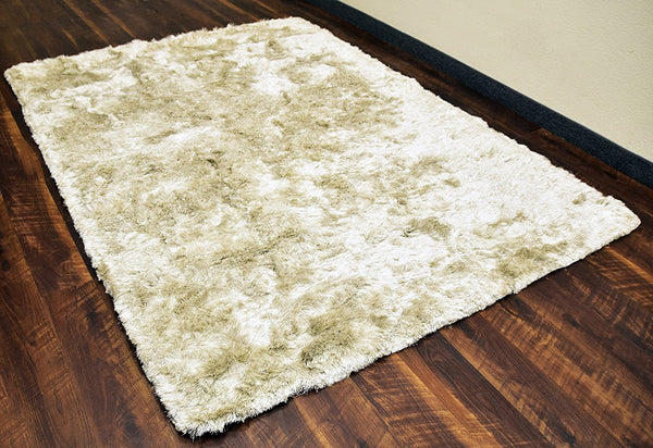 Ivory Grey Tone Soft Shaggy 5x8 ft Area Rug Table Tufted Gray Polyester Shag Carpet Contemporary Living Family Room Kids Room Bedroom Rugs
