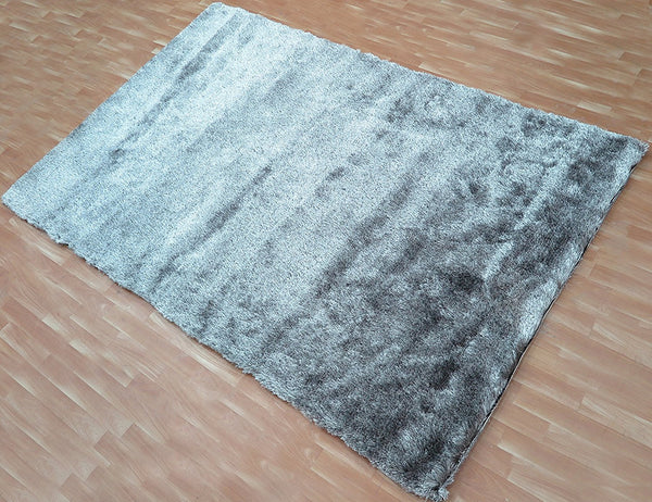 5x8 ft Silver-Grey Black Soft Shaggy Area Rug Polyester Shag Carpet Contemporary Living Family Kids Room Bedroom