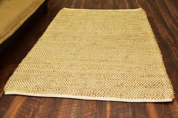 Jute Area Rugs Handmade Jute & Cotton-Beige 4 x 6 ft Natural Fiber Carpet