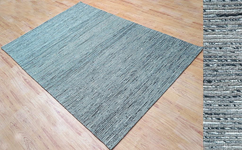 5x8 ft Hand Tufted Light Silver Gray Jute & Viscose Area Rug Family Media Living Bar Room Dining Room Carpet