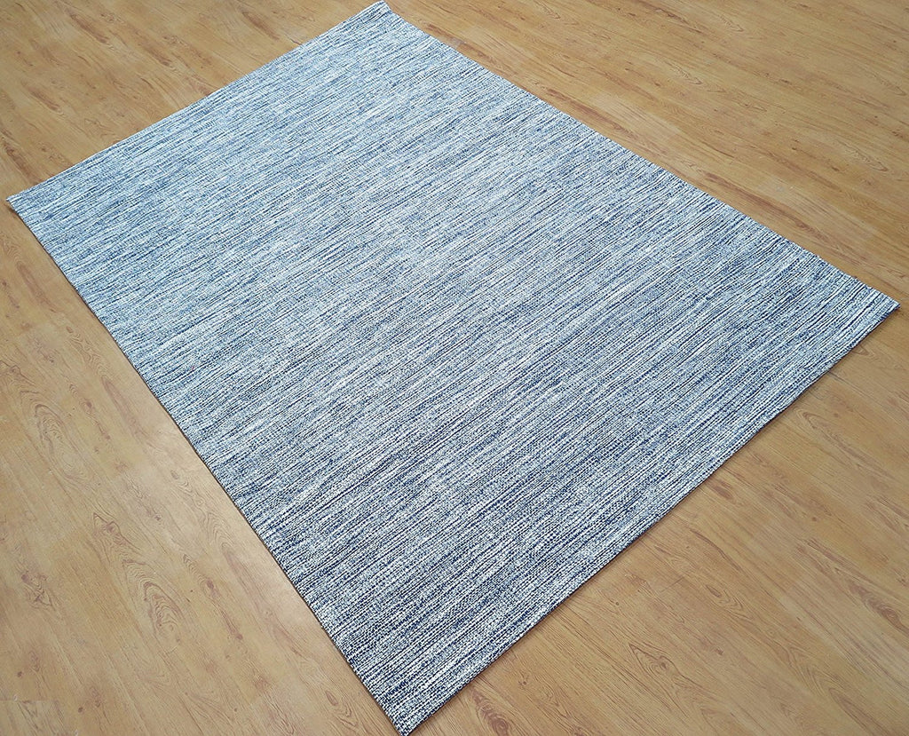 5x8 ft Blue Cotton Hand Woven Area Rug Carpet Family Living Dining Bed Room