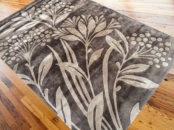 5x8 ft Brown Viscose Area Rug