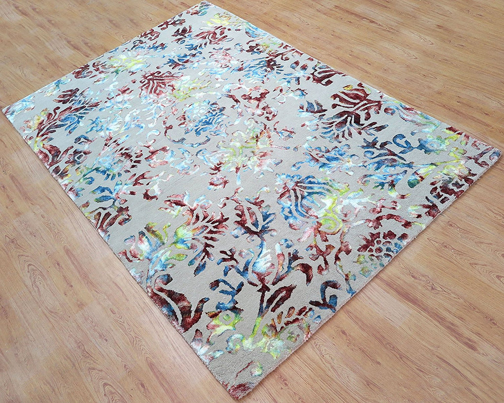 7x9 ft Beige Multi-Colored Floral Viscose Area Rug