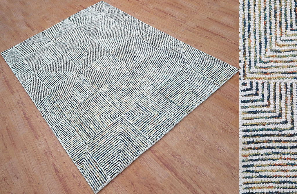 5x8 ft White & Blue Woolen Area Rug Living Family Dining Kids Bed Room Carpet