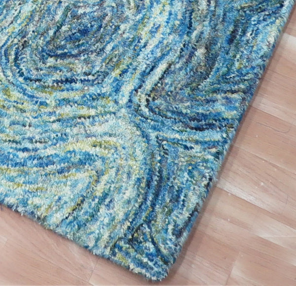 5x8 ft Blue Wool Area Rug