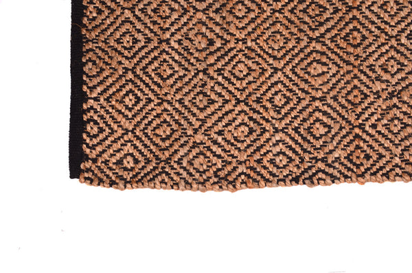 3 x 5 ft Jute Area Rugs Handmade Natural Fiber Cotton-Black Home Decor Carpet