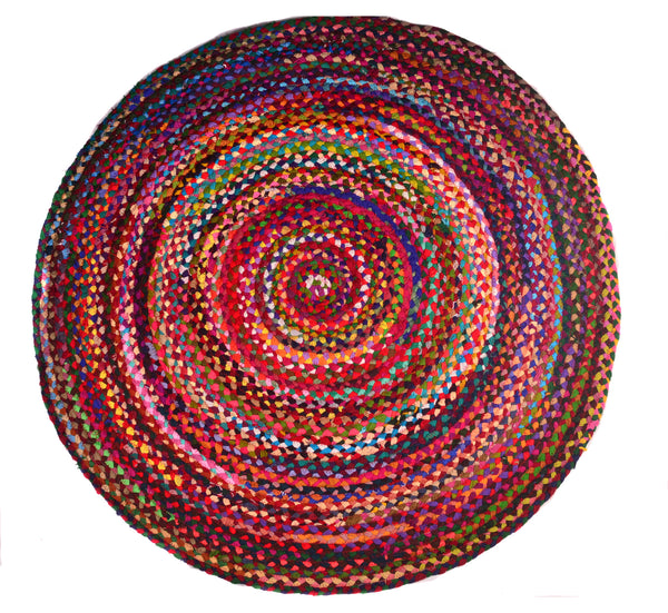 Area Rugs Braided Chindi Round Handwoven Cotton Size 4 ft Diameter