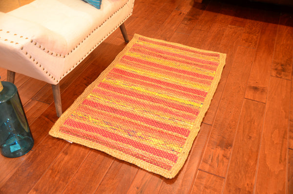 Multi Purpose Mats Jute Cotton Floor Mat Size-Orange 2ft X 4ft