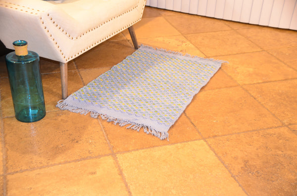 Bath & Floor Mats Cotton Handmade Mat-Light Blue Size 2 ft x 3 ft