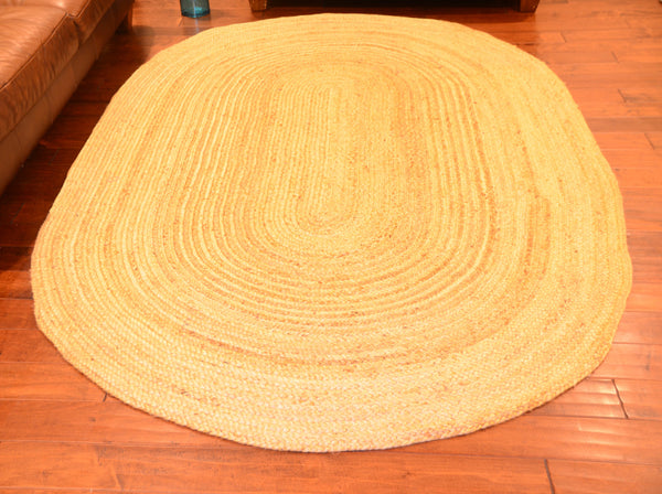Large Area Rugs Oval Jute Braided Carpet Size 5 ft x 8 ft