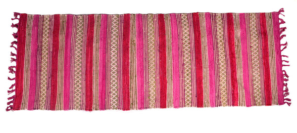 Area Rugs Handwoven Cotton Runner-Pink 2 ft x 7 ft