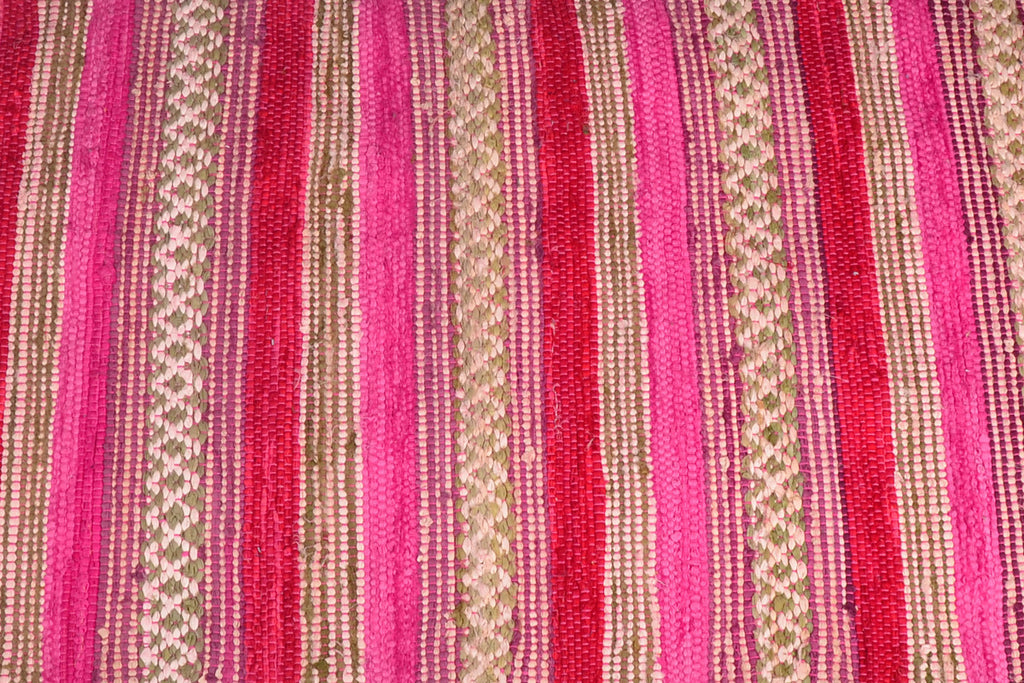 Area Rugs Handwoven Cotton Runner Pink 2 Ft X 7 Ft