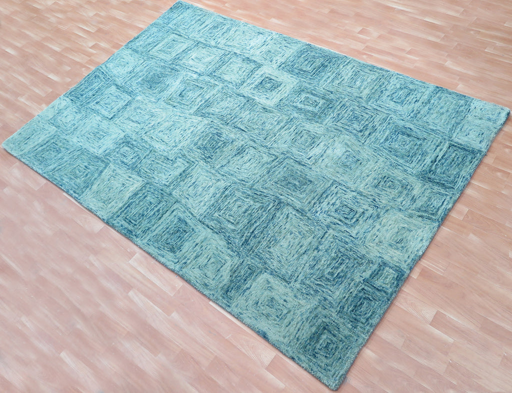 5x8 Ft Teal Blue Woolen Hand Tufted Wool Carpet Area Rug Bedroom Family Living Dining Room Rugs