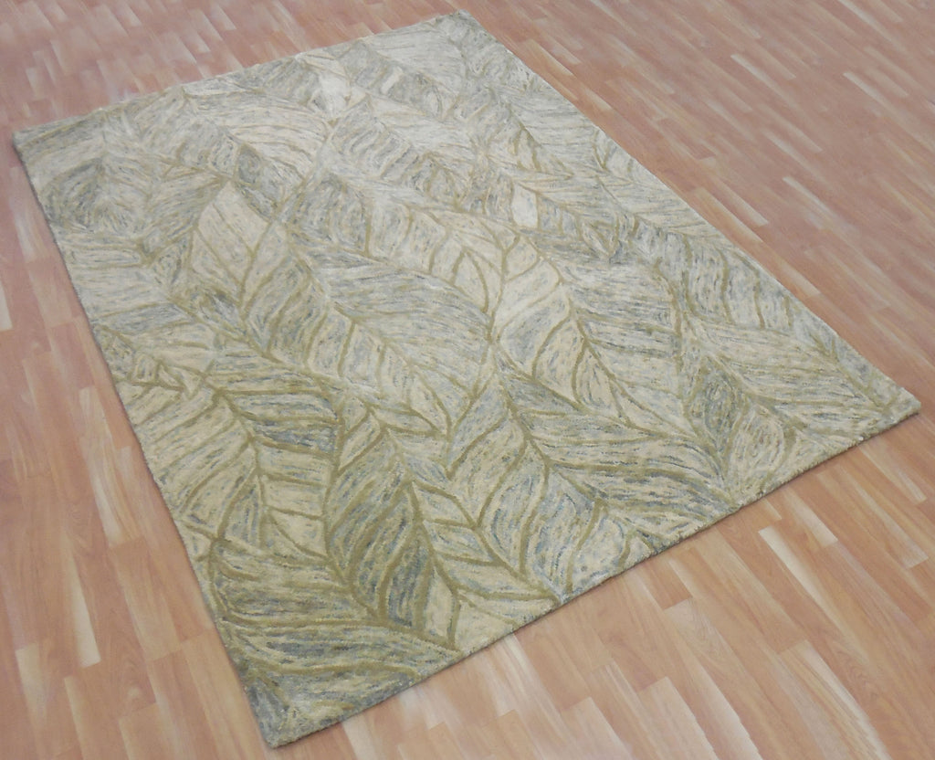 5x8 ft Beige-Green Tone Hand Tufted Wool Area Rug Carpet Living Dining Kids Bed Room Office