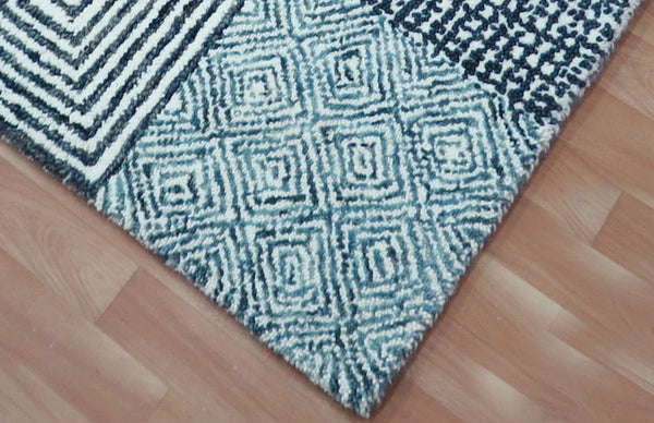 4x6 ft White-Blue Area Rug Hand Tufted Wool Soft and Plush Carpet Home Decor