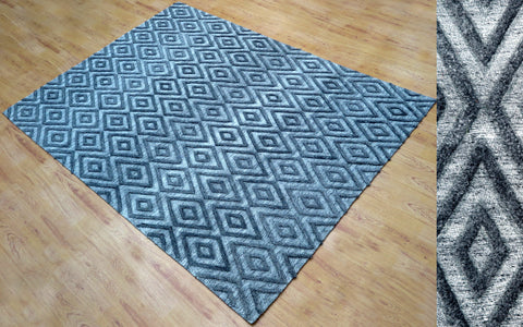 5x8 ft Grey Hand Tufted Viscose Area Rug Family Media Room Bedroom Living Dining Room Carpet