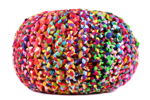 Pouf & Ottoman Round Cotton Braided Footstool Multi color Size 16''x 20""