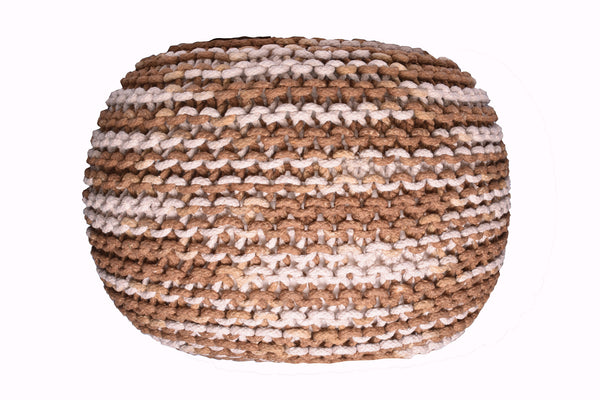 Pouf & Ottoman Round Cotton Braided Footstool Beige & Brown Size 16''x 20""