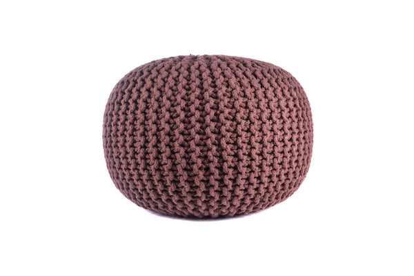 Pouf & Ottoman Round Cotton Braided Footstool Brown Size 16''x 20""