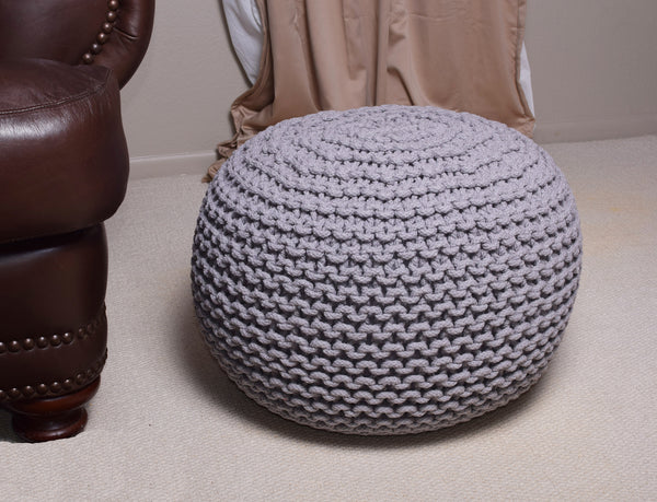 Pouf & Ottoman Round Cotton Braided Footstool Gray Size 16''x 20""